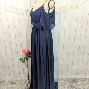 LULUS beautiful navy blue long wedding/prom dress